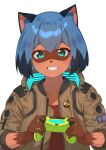 1girl :d animal_ear_fluff animal_ears animal_nose badge bangs blue_hair bob_cut brand_new_animal brown_jacket brown_shirt button_badge claws commentary_request controller cosplay cyberpunk_2077 dark_skin furry game_console game_controller glowing green_eyes grin hair_between_eyes highres holding holding_controller holding_game_controller imori_(lizzy) jacket kagemori_michiru looking_at_viewer multicolored_hair open_mouth patch playstation_4 raccoon_ears raccoon_girl samurai_jacket shirt short_hair smile solo symbol_commentary teeth thick_eyebrows two-tone_hair unzipped upper_body v_(cyberpunk_2077) v_(cyberpunk_2077)_(cosplay)