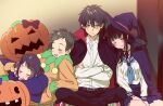 2boys 2girls alternate_costume bangs black_cape black_hair blush bow brown_hair cape chitanda_eru closed_eyes collared_shirt commentary_request crossed_arms frown fukube_satoshi halloween hat hyouka ibara_mayaka indian_style jack-o'-lantern long_hair mery_(yangmalgage) multiple_boys multiple_girls on_shoulder open_mouth oreki_houtarou pants pleated_skirt pumpkin purple_bow purple_cape purple_headwear purple_skirt red_cape sailor_collar school_uniform shirt short_hair sitting skirt sleeping sweatdrop upper_teeth vampire_costume white_shirt witch_hat