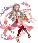 1girl artist_request bangs dress fire_emblem fire_emblem_heroes floating floating_object flower flower_pot full_body gold_trim gradient gradient_clothes grey_hair hair_ornament highres jewelry long_hair looking_away official_art open_mouth pelvic_curtain petals red_legwear redhead sandals solo sparkle thigh-highs thorns tiara toes transparent_background veronica_(fire_emblem) wide_sleeves