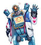 1boy apex_legends heart humanoid_robot jacket leaning_to_the_side looking_at_viewer male_focus nashigawa no_humans one-eyed pathfinder_(apex_legends) red_eyes robot science_fiction screen solo waving white_background white_jacket