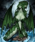 1girl animal_head black_nails breasts claws closed_mouth clouds cloudy_sky colored_skin cthulhu cthulhu_mythos dragon_wings fingernails genderswap genderswap_(mtf) green_lips green_skin grey_sky highres humanization large_breasts monster_girl navel ocean sharp_fingernails signature sky solo standing sumosamo torn_wings waves webbed_hands wings