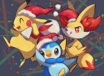 :q closed_eyes closed_mouth commentary_request fang fennekin fur-trimmed_headwear gen_1_pokemon gen_4_pokemon gen_6_pokemon hat hatted_pokemon highres holding holding_sack no_humans nullma open_mouth pikachu piplup pokemon pokemon_(creature) red_headwear sack santa_hat smile tongue tongue_out