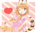 1girl alternate_costume animal_ears apron bare_shoulders blush bow collarbone commentary_request earrings elbow_gloves extra_ears eyebrows_visible_through_hair finger_to_mouth gloves hair_bow heart heart_apron heart_earrings heart_eyes highres jewelry kemono_friends one_eye_closed pink_apron pink_bow print_gloves serval_(kemono_friends) serval_ears serval_girl serval_print serval_tail solo suicchonsuisui tail tail_bow tail_ornament thigh-highs yellow_eyes