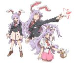 1girl aiming akiyoku animal_ears black_jacket breasts bright_pupils brown_footwear carrot crescent crescent_pin cropped_legs danmaku finger_gun holding jacket loafers long_hair long_sleeves lunatic_gun medium_breasts multiple_views one_eye_closed outstretched_arm pink_skirt puffy_short_sleeves puffy_sleeves purple_hair rabbit_ears rabbit_girl red_eyes red_neckwear reisen_udongein_inaba shirt shoes short_sleeves simple_background skirt socks touhou white_background white_legwear white_shirt
