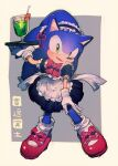 1boy alternate_costume animal_nose aoki_(fumomo) apron black_dress bow bowtie crossdressing cup dress drink drinking_straw enmaided full_body gloves green_eyes holding holding_plate maid maid_apron maid_headress male_focus open_mouth plate red_bow red_footwear solo sonic sonic_the_hedgehog white_apron white_gloves