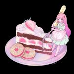 1girl apron black_background cake cookie food food_themed_hair_ornament fork frilled_apron frills fruit hair_ornament holding holding_fork long_hair minigirl original pink_footwear pink_hair puffy_short_sleeves puffy_sleeves ring_411 shadow short_sleeves simple_background solo strawberry strawberry_hair_ornament twitter_username very_long_hair white_apron
