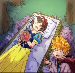 1boy 1girl black_hair blonde_hair bouquet bow cosplay disney dress drooling flower hair_bow kingdom_hearts kingdom_hearts_358/2_days nakwanne nose_bubble pointing roxas sleeping snow_white_(disney) snow_white_(disney)_(cosplay) snow_white_and_the_seven_dwarfs spiky_hair sweatdrop the_prince_(disney) the_prince_(disney)_(cosplay) xion_(kingdom_hearts)
