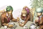 1girl 2boys blazer brown_hair cellphone commentary_request cup danganronpa_(series) danganronpa_3_(anime) drinking drinking_glass drinking_straw flip_phone green_eyes green_hair hair_intakes hair_ribbon high_ponytail hope's_peak_academy_school_uniform jacket long_hair loose_necktie multiple_boys munakata_kyousuke necktie notebook phone pink_eyes pointing red_neckwear ribbon sakakura_juuzou school_uniform silver_hair sitting table violet_eyes youko-shima younger yukizome_chisa