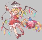 1girl akiyoku blonde_hair bloomers blue_headwear blush_stickers bow bowtie brown_footwear closed_eyes commentary cravat crossover crystal english_commentary fangs full_body grey_background hat heart highres holding jester_cap kirby_(series) laevatein long_hair marx mary_janes open_mouth outstretched_arm puffy_short_sleeves puffy_sleeves red_bow red_footwear red_headwear red_neckwear red_skirt red_vest shirt shoes short_sleeves side_ponytail simple_background skirt smile touhou trait_connection underwear vest white_headwear white_legwear white_shirt wings wrist_cuffs yellow_neckwear