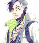 1boy apex_legends backpack bag black_eyes black_hair collarbone crypto_(apex_legends) cyborg expressionless jacket jewelry looking_at_viewer looking_down male_focus nashigawa necklace parted_hair science_fiction solo undercut white_background white_jacket