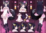 1girl :o amano_kohana animal_ear_fluff animal_ears bangs bare_shoulders bell black_hair blush character_sheet detached_collar detached_sleeves dress english_commentary eyebrows_visible_through_hair hair_bell hair_ornament highres luma_rum multiple_views official_art open_mouth palette pink_dress pointing pointing_up shirayuri_production smile tail thigh-highs virtual_youtuber wolf_ears wolf_girl wolf_tail