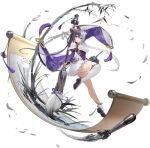 1girl azur_lane bamboo bare_shoulders blush breasts calligraphy_brush chinese_clothes cleavage_cutout clothing_cutout detached_sleeves dress eyebrows_visible_through_hair highres ink leg_up long_hair looking_at_viewer medium_breasts multicolored_hair official_art paintbrush print_sleeves purple_dress purple_footwear purple_hair scroll single_thighhigh smile thigh-highs torpedo transparent_background turret twintails two-tone_hair white_hair white_legwear wide_sleeves ying_swei_(azur_lane) yyy_(zelda10010)