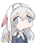 1girl :o animal_ears animal_hat bangs blue_dress blue_eyes chibi clothing_cutout cropped_torso dokomon dress face_of_the_people_who_sank_all_their_money_into_the_fx fake_animal_ears girls_frontline grey_hair hair_between_eyes hat highres long_hair looking_at_viewer parted_lips ribeyrolles_1918_(girls_frontline) shoulder_cutout simple_background solo upper_body very_long_hair white_background white_headwear