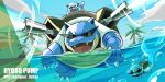 artist_name blastoise bubble clouds day designer_ojisan fangs gen_1_pokemon grass highres hydro_pump_(pokemon) no_humans number open_mouth outdoors palm_tree partially_underwater_shot pokedex_number pokemon pokemon_(creature) riding_pokemon sky squirtle tongue tree water