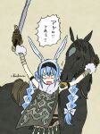 agro angry animal_ear_fluff animal_ears blue_hair braid carrot commentary_request don-chan_(usada_pekora) eating eating_hair fur-trimmed_gloves fur_scarf fur_trim gloves hairband highres hololive horse multicolored_hair rabbit_ears rabbit_girl saddle sanchishima shadow_of_the_colossus signature simple_background sword thick_eyebrows translation_request twin_braids two-tone_hair usada_pekora virtual_youtuber weapon