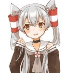 1girl alternate_hairstyle amatsukaze_(kantai_collection) brown_dress brown_eyes brown_neckwear cocoperino dress fang hair_tubes kantai_collection long_hair neckerchief sailor_collar sailor_dress sideways_glance silver_hair simple_background skin_fang sleeves_past_wrists solo upper_body white_background white_sailor_collar windsock