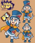 1girl :3 :d ;d a_hat_in_time adapted_costume bangs beige_background blue_eyes blue_hair blunt_bangs cape dudul eyebrows_visible_through_hair fish_tail gawr_gura hands_on_hips hat highres hololive hololive_english hood hood_up hourglass logo_parody looking_at_viewer multicolored_hair multiple_views one_eye_closed open_mouth shark_tail sharp_teeth simple_background smile smug streaked_hair tail teeth top_hat two-tone_hair two_side_up virtual_youtuber white_hair yellow_cape