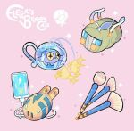 bag cable character_name character_print charging_device charjabug chinchou commentary elekid elesa_(pokemon) gen_2_pokemon gen_7_pokemon green_bag jug liquid phone pink_background pokemon simple_background sparkle yamato-leaphere