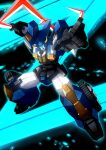 autobot boomerang dai_atlas glowing glowing_eyes highres holding holding_weapon horns mecha nichisogawa_asaryo no_humans open_mouth pointing pointing_up science_fiction solo transformers transformers_zone weapon