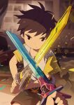 1boy blurry blurry_background brown_hair fighting indoors looking_at_viewer male_focus noeyebrow_(mauve) original pov short_hair shorts sparks sword weapon