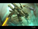 arm_blade bottoms1237 energy_blade flying glowing glowing_eyes gun highres holding holding_gun holding_weapon looking_ahead mecha no_humans original science_fiction solo weapon yellow_eyes