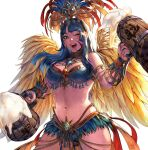 1girl ;) alcohol armlet armor beer beer_mug bikini_armor blue_eyes blue_hair body_freckles breasts carnival commentary commission cup english_commentary feathers headdress highres large_breasts lips long_hair midriff monster_hunter monster_hunter:_world mug navel one_eye_closed open_mouth passion_layered_armor_(mhw) simon_jude smile solo upper_body upper_teeth