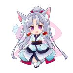 1girl :d animal_ear_fluff animal_ears bangs black_footwear blush chibi commentary_request eyebrows_visible_through_hair fox_ears fox_girl fox_tail full_body hagoromo high_ponytail highres japanese_clothes kimono long_hair long_sleeves looking_at_viewer obi open_mouth parted_bangs ponytail ryogo sash see-through shawl silver_hair simple_background sleeves_past_wrists smile socks solo standing tail touhoku_itako very_long_hair violet_eyes voiceroid white_background white_kimono white_legwear wide_sleeves zouri