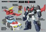 1boy car crossover dated grey_background ground_vehicle highres kabuto_kouji kamizono_(spookyhouse) mazinger_z mazinger_z_(mecha) mecha mechanization motor_vehicle no_humans parody pilder style_parody super_robot transformers transformers:_the_headmasters visor yellow_eyes