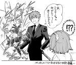 !!? 1boy 1girl black_gloves fate/grand_order fate_(series) formal fujimaru_ritsuka_(female) gloves hand_in_pocket katana monochrome necktie saitou_hajime_(fate) samosuke side_ponytail signature suit sword weapon
