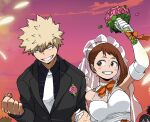 1boy 2girls alternate_costume asui_tsuyu bakugou_katsuki bangs blonde_hair blush_stickers boku_no_hero_academia breasts bride brown_eyes brown_hair clenched_hand clenched_teeth clouds collared_shirt commentary dailykrumbs english_commentary eye_contact eyelashes flower groom highres holding holding_hand jacket looking_at_another multiple_girls necktie outdoors pink_flower shirt sky smile spiky_hair teeth uraraka_ochako
