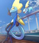 against_fence blue_eyes blurry building closed_mouth clouds commentary_request day fence from_below gen_8_pokemon hand_up highres inteleon nullma open_mouth outdoors pokemon pokemon_(creature) signature sky smile sobble standing starter_pokemon tongue yellow_eyes