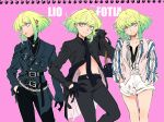 1boy 302 androgynous bag character_name earrings fashion gloves green_hair half_gloves handbag highres jacket jewelry lio_fotia necklace pink_background promare shorts simple_background solo