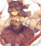 1girl ascot bare_shoulders bow breasts brown_eyes brown_hair closed_mouth detached_sleeves eyebrows_visible_through_hair eyes_visible_through_hair feet_out_of_frame frills hair_bow hair_tubes hakurei_reimu highres kujikimi long_hair looking_at_viewer outstretched_arms petticoat red_bow red_skirt red_vest rope sarashi serious shimenawa sidelocks simple_background skirt skirt_set small_breasts solo standing touhou v-shaped_eyebrows vest white_background wide_sleeves yellow_neckwear