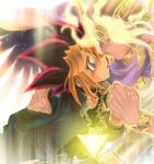 2boys atem blonde_hair bracelet chain choker closed_mouth commentary_request dark_skin dark_skinned_male egyptian eye_contact face-to-face fingernails glowing glowing_hair holding_hand jewelry looking_at_another male_focus millennium_puzzle multicolored_hair multiple_boys mutou_yuugi open_mouth pink_eyes purple_hair ring school_uniform smile spiky_hair tongue unko_yoshida yu-gi-oh! yu-gi-oh!_duel_monsters