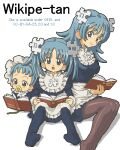 3girls aliasing apron aqua_eyes aqua_hair baby bangs blue_dress blue_legwear blush book brown_legwear character_name child closed_mouth commentary disconnected_mouth dress english_commentary eyebrows_visible_through_hair frills hair_ornament holding holding_book invisible_chair kasuga_(kasuga39) long_hair long_sleeves looking_at_viewer lowres mouth_hold multiple_girls multiple_persona no_shoes oekaki official_art older open_book open_mouth pacifier pantyhose puzzle_piece_hair_ornament reading simple_background sitting smile twintails waist_apron white_apron white_background wikipedia younger