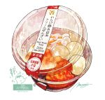 bowl container dessert english_text food food_focus highres momiji_mao no_humans original realistic signature simple_background soup still_life translation_request white_background