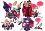 +++ 1boy 1girl alternate_costume animal_ears animal_nose arrow_(symbol) artist_name bag bat_ears bat_girl bat_tail bat_wings bodysuit boots brown_hair carrying character_sheet chibi coat commentary cup dollar_sign dr._eggman english_commentary english_text facial_hair fang feet_out_of_frame fingerless_gloves full_body furry gem gloves goggles green_eyes grin half-closed_eyes hat height_difference high_collar highres holding jacket laughing long_sleeves multiple_views mustache over_shoulder rouge_the_bat shirt short_hair sitting smile sonic_the_hedgehog sonic_the_hedgehog_(film) tail upper_body white_hair wings wizaria zipper zipper_pull_tab