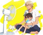 2boys amuro_tooru animal arm_around_waist bangs barefoot black-framed_eyewear blonde_hair blue_eyes blue_pants brown_hair brown_shorts casual child closed_eyes collarbone commentary_request dog edogawa_conan electric_fan fanning_self feet fingernails food food_in_mouth full_body glasses hair_between_eyes haro_(meitantei_conan) holding holding_food hot indian_style k_(gear_labo) male_focus meitantei_conan multiple_boys open_mouth pants popsicle shirt short_hair short_sleeves shorts sitting sitting_on_lap sitting_on_person sleeveless sleeveless_shirt sweat tan tanline toenails toes tongue tongue_out two-tone_background white_background white_dog yellow_background