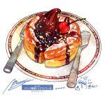 cake cherry dessert food food_focus fork fruit highres momiji_mao no_humans original pastry plate signature simple_background spoon still_life utensil white_background