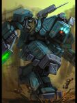 blue_eyes bottoms1237 extra_eyes glowing glowing_eyes gun highres holding holding_gun holding_weapon looking_down mecha mud no_humans original science_fiction shoulder_cannon solo weapon