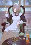 1girl alcohol ashtray bangs between_fingers blunt_bangs bottle brown_hair chair cigarette cigarette_holder cork cup drinking_glass eyebrows_visible_through_hair green_eyes highres hks_(timbougami) long_sleeves looking_away maid maid_headdress matchbox matches original painting short_hair shot_glass sitting smoking solo wrist_cuffs