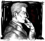 absurdres artist_name character_name chuukan_kanriroku_tonegawa cigarette from_side greyscale highres holding holding_cigarette kaiji male_focus monochrome old old_man realistic smoking spot_color tonegawa_yukio toyryla