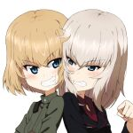 2girls blonde_hair blue_eyes cheek-to-cheek clenched_teeth eyebrows_visible_through_hair fang girls_und_panzer grin itsumi_erika katyusha_(girls_und_panzer) kayabakoro kuromorimine_military_uniform long_hair multiple_girls short_hair smile teeth upper_body white_background