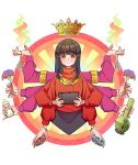 1girl alison_(alison_airlines) black_hair blush_stickers bong character_request commentary_request controller copyright_request crown extra_arms floating flower game_controller highres holding holding_controller holding_flower holding_game_controller long_hair long_sleeves outline red_eyes red_sweater smirk solo sweater white_outline