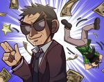 2boys blue_neckwear chibi endou_yuuji finger_gun gonk_(user_fdfd8782) itou_kaiji kaiji male_focus money money_rain multiple_boys necktie sunglasses thick_eyebrows upside-down yen