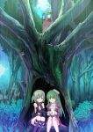 2girls assassin_cross_(ragnarok_online) bangs black_cape black_gloves black_legwear black_shirt blush boots cape closed_mouth commentary_request day dress elbow_gloves eyebrows_visible_through_hair feet_out_of_frame fingerless_gloves fireflysnow forest gloves grass green_eyes green_hair hat high_heel_boots high_heels high_priest_(ragnarok_online) juliet_sleeves kneehighs leaf_umbrella long_hair long_sleeves looking_at_another looking_to_the_side multiple_girls nature open_clothes open_shirt outdoors pointy_ears puffy_sleeves raccoon ragnarok_online rain red_dress red_scarf revealing_clothes sailor_hat sash scarf shirt short_hair short_twintails sitting smile smokie_(ragnarok_online) tree twintails two-tone_dress violet_eyes waist_cape white_headwear white_sash