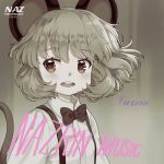 1girl animal_ears bangs blush bow bowtie character_name commentary_request cosplay grey_background grey_hair iris_anemone long_sleeves mouse_ears mouse_tail muted_color nazrin open_mouth parody red_eyes shirt short_hair solo suspenders sweetest_music tail takeuchi_mariya touhou upper_body white_shirt