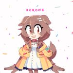 1girl :3 :d animal_collar animal_ears animal_nose beige_fur blush body_fur bone_hair_ornament braid brown_eyes brown_fur brown_hair cartoon_bone collar confetti cowboy_shot dog dog_ears dog_girl dog_tail eyelashes fangs furrification furry hair_ornament inugami_korone jacket long_hair looking_to_the_side motobug open_mouth red_collar red_wristband short_sleeves simple_background smile solo sonic_the_hedgehog standing tail twin_braids two-tone_fur white_background wristband yellow_jacket