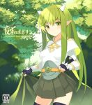 1girl armor bangs belt black_gloves black_legwear boobplate brown_belt bush cape cape_lift closed_mouth commentary_request cover cover_page cowboy_shot cross day doujin_cover english_text engrish_text expressionless eyebrows_visible_through_hair fingerless_gloves fireflysnow forest gauntlets gloves grass green_cape green_eyes green_hair horns long_hair looking_at_viewer lord_knight_(ragnarok_online) miniskirt nature outdoors pauldrons pleated_skirt pointy_ears ragnarok_online ranguage rating shoulder_armor skirt solo spiked_gauntlets standing thigh-highs