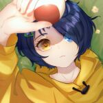 1girl absurdres arm_up blue_eyes blue_hair closed_mouth dark_blue_hair egg hair_ornament hairclip heterochromia highres holding holding_egg hood hoodie looking_at_object looking_up lying maruko_le on_back ooto_ai short_hair triangle_hair_ornament wonder_egg_priority yellow_eyes yellow_hoodie